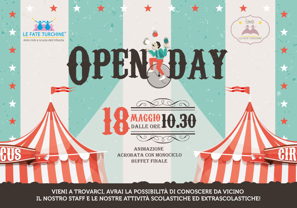 Sabato 18 Maggio siete tutti invitati all'Open Day 2019 dell'Asilo Le Fate Turchine!